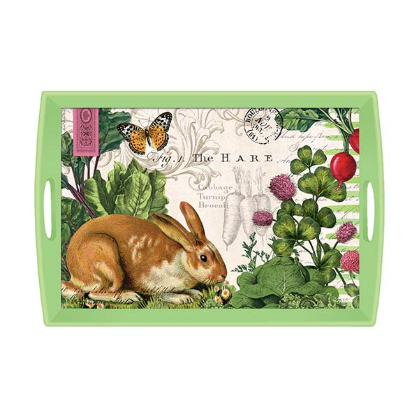 Garden bunny large wooden tray by michel design works for Tray garden designs