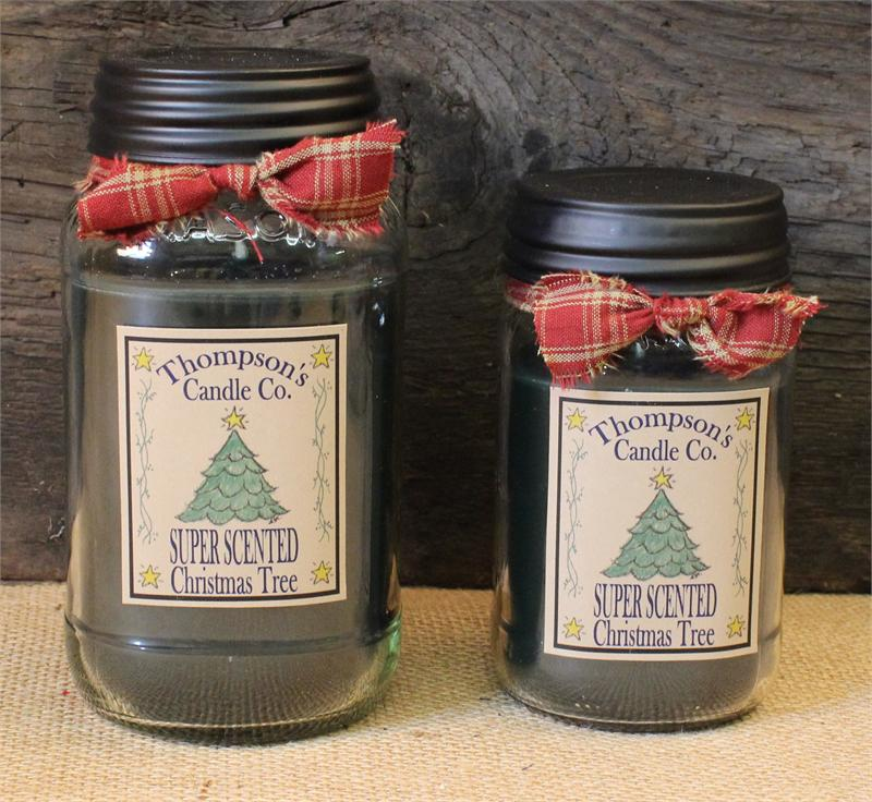 christmas tree mason jar candle by thompson candles. Black Bedroom Furniture Sets. Home Design Ideas