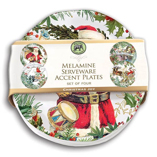 Christmas Joy Melamine Serveware Accent Plates (Set of 4) ...  sc 1 st  Ferris Wheels and Carousels & Michel Design Works Melamine Serveware Accent Plates - Christmas Joy