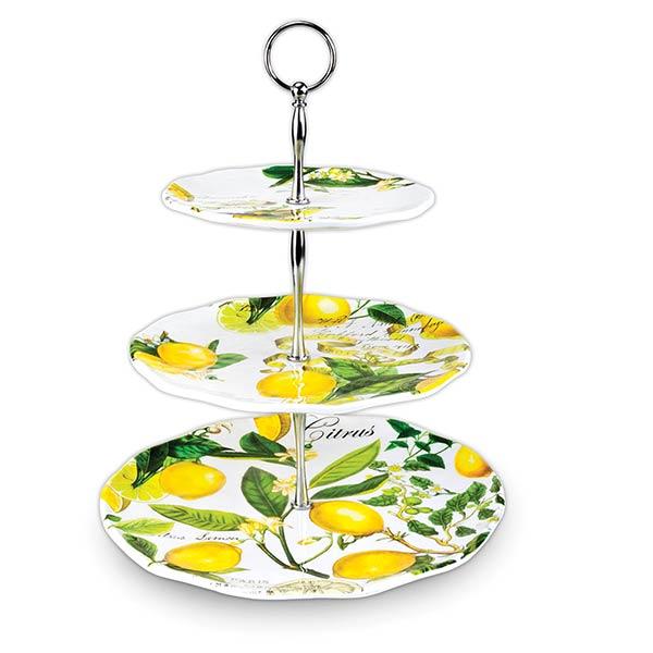 lemon basil 3tier melamine serveware trays