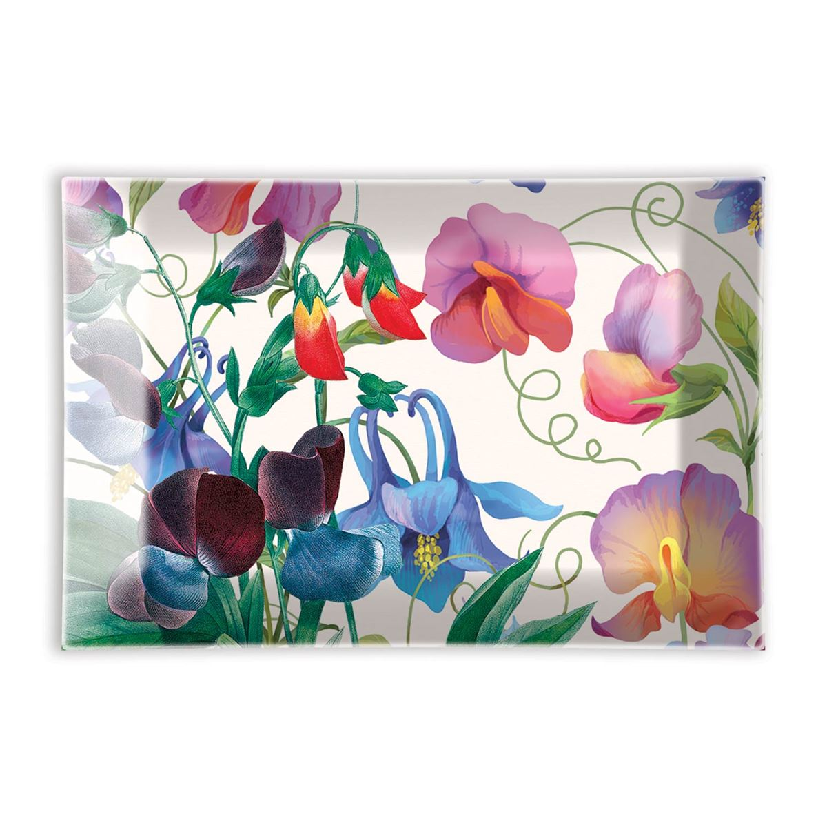 Michel Design Works Glass Soap Dish Sweet Pea Floral NEW