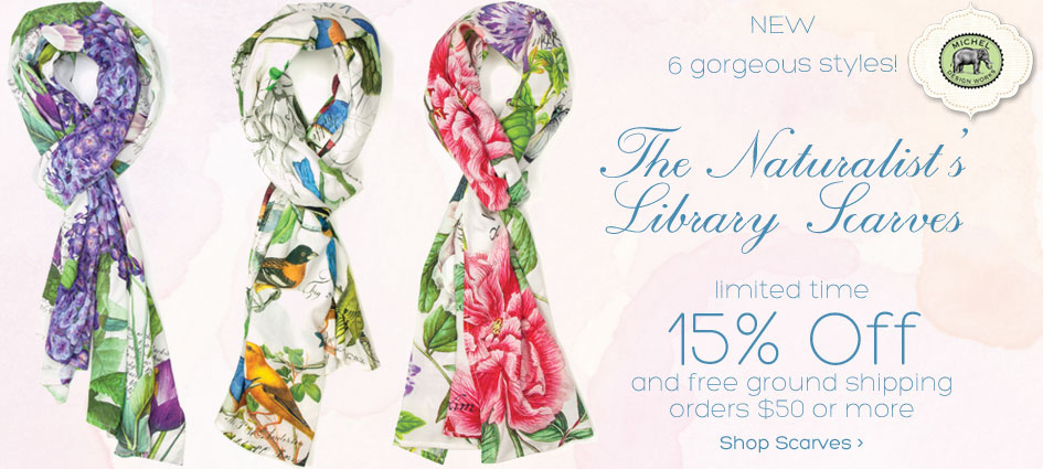 Limited time 15% off all Michel Design Works scarves + Free ground shipping orders $50 or more.
