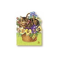 Cat In A Basket Art Cards