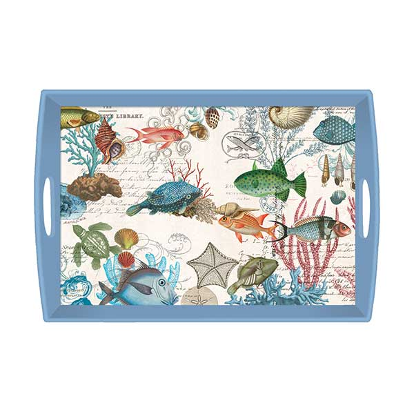 Michel Design Works Large Wooden Tray Sea Life